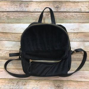 Mini Black Velvet Backpack